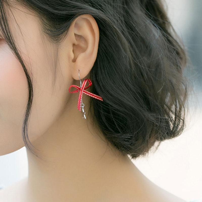 Cute stars red bow earrings s925 sterling silver earrings for women