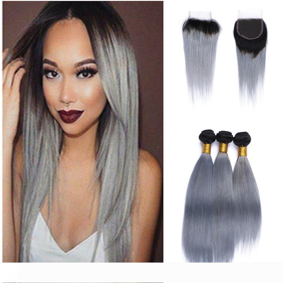 Two Tone 1b Grey Brazilian Virgin Hair Weave Lace Closure With Bundles Straight Human Hair Extensions Ombre Silver Gray Hair With Closure