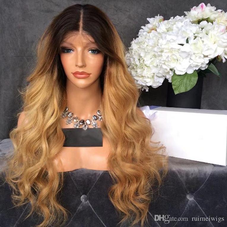 Resistente al calore parte centrale Ombre parrucca Glueless Blonde Body Wave parrucche anteriori del merletto con radici scure Resistenti al calore parrucche sintetiche per le donne nere