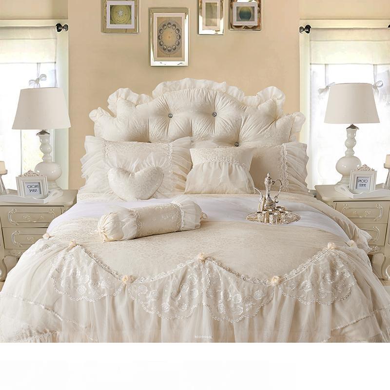 Cotton Jacquard Lace Princess Bed Set, Princess Bed Set Queen