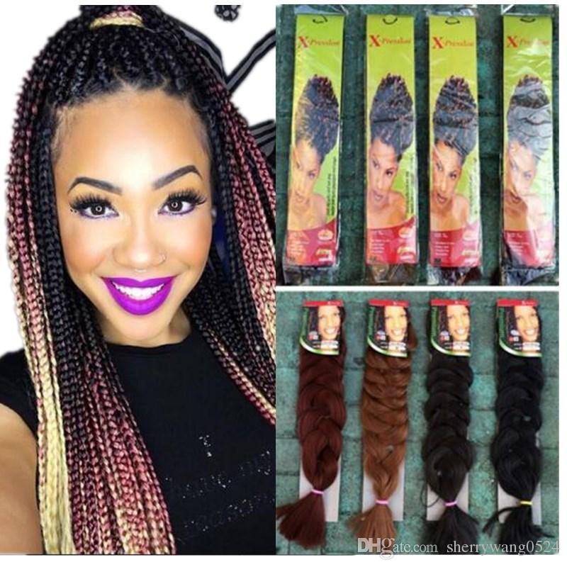 Синтетические волосы для ультра Braid 24inch Fold Длина Высокая температура волокна X прижимное Jumbo плетение Ombre Вложение 100gram волос