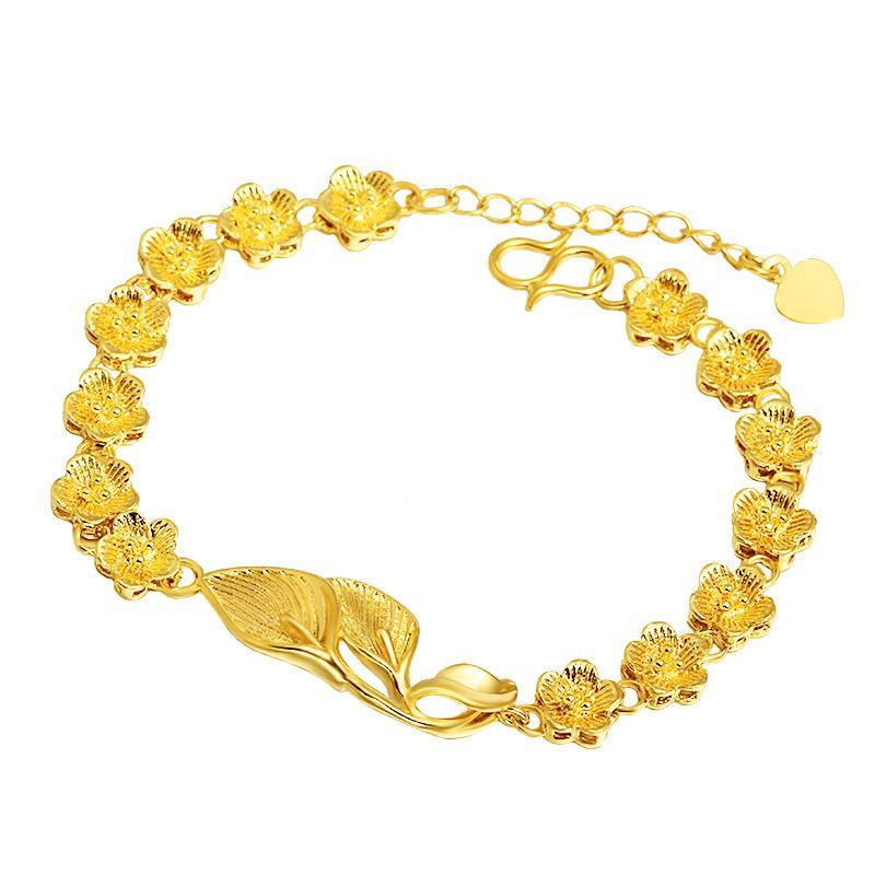 Catena del braccialetto femminile fiore di modo di picchiettio del braccialetto del polso per le donne oro giallo riempito bello regalo