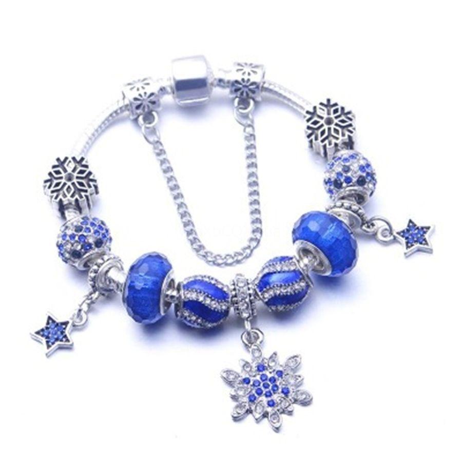 2020 el nuevo 100% 925 de la aleación del copo de nieve pulseras de los brazaletes Brillante estrella para encantos Ajustada Mujer de aleación de joyería de bricolaje regalo # 616