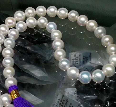 """10-11 мм южное море натуральное белое жемчужное ожерелье 18 """"14k золото"""