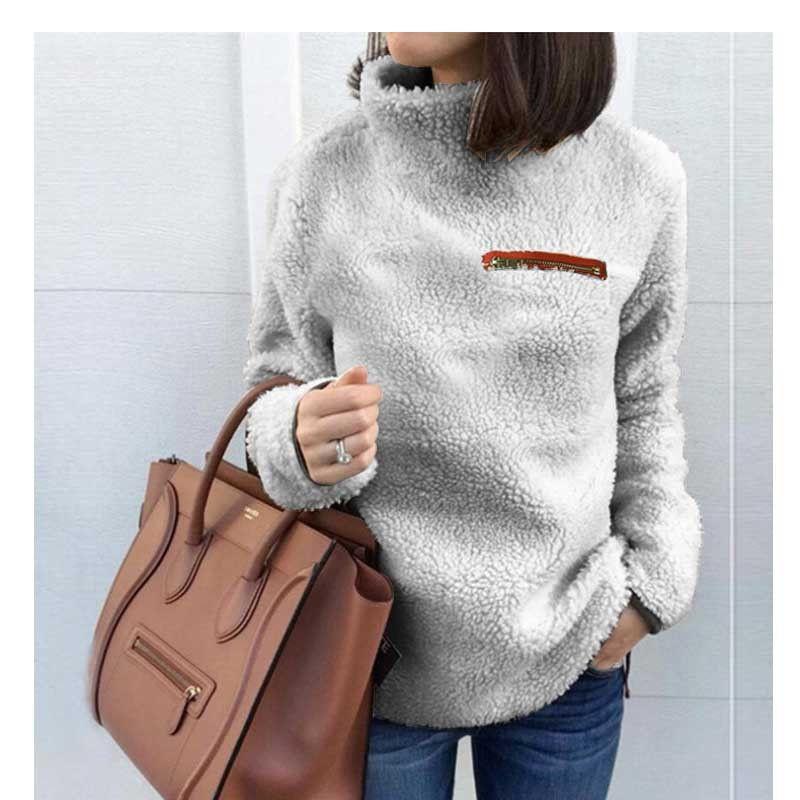 2021 Cashmere Sweater Women Winter Warm Fleece Turtleneck Pullover Sweaters Front Zipper Mohair Tops Sheer Sherpa Casual Sweaters From Gesentur 12 95 Dhgate Com