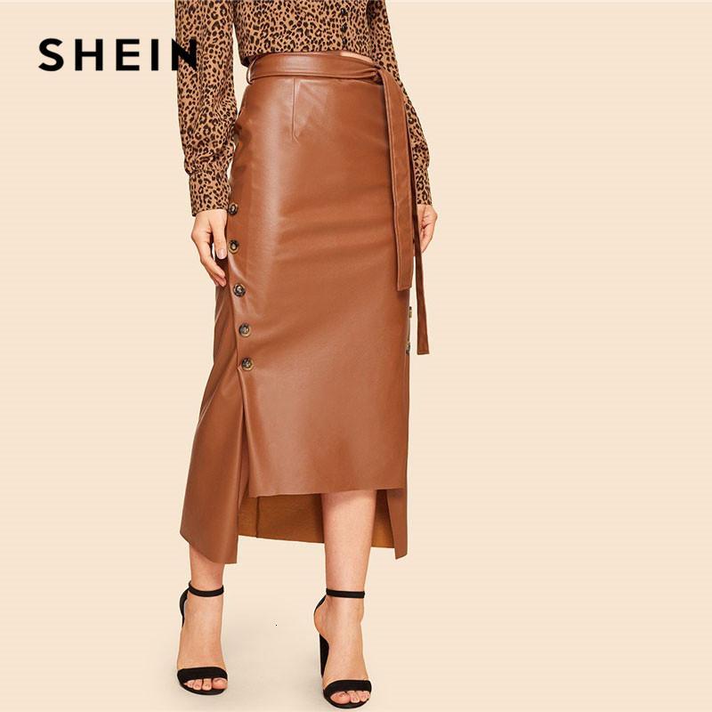 SHEIN Brown élégante de Split Hem avant Bouton double ceinturée imitation cuir Jupe longue Office Lady solide Workwear Maxi Jupes CJ191209