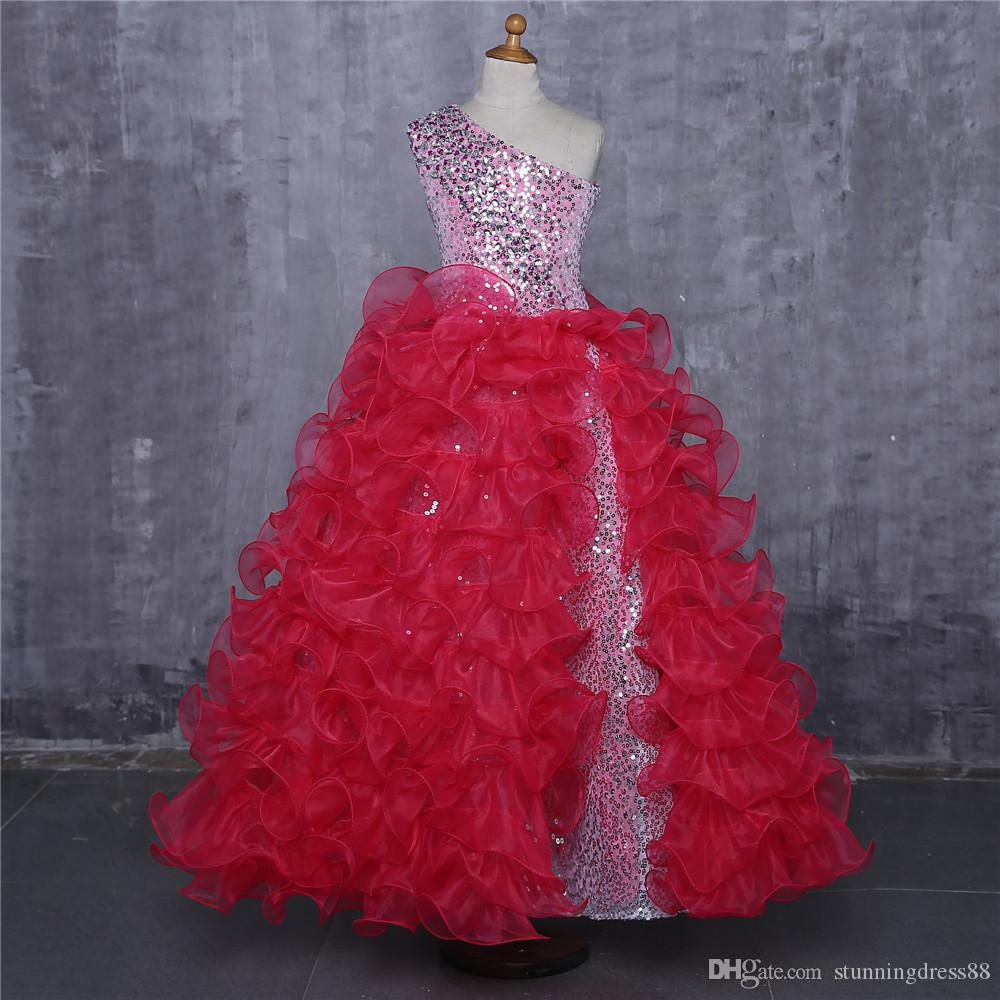 Ball Gown Hot Pink Girls Pageant Dresses One shoulder Organza Ruffles Sequined Long 2020 Kids Formal Prom Evening Party Dresses