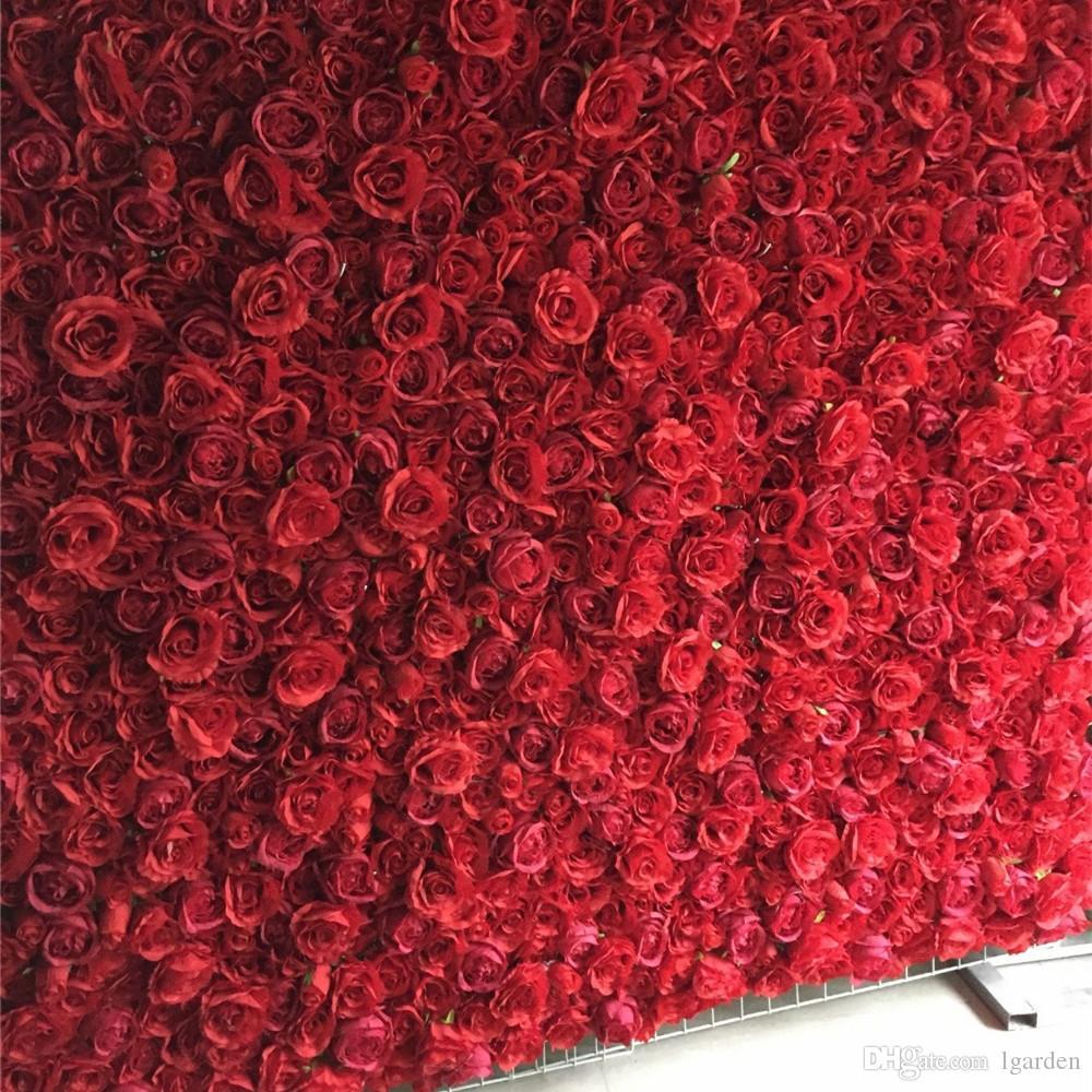 12pcs / lot rose soie artificielle 3D mur fleur décoration scénique décoration fleur de toile de fond de mariage rouge