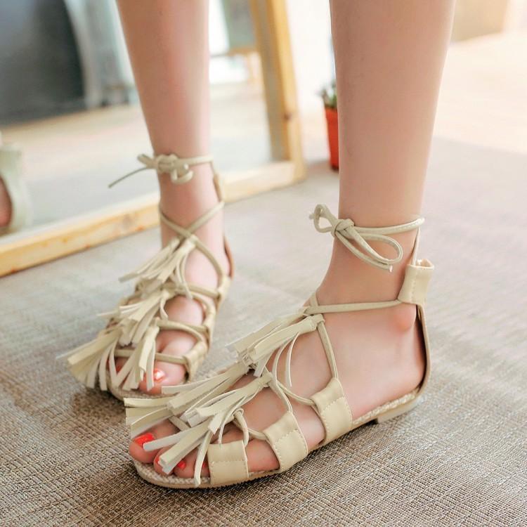 Glittery2019 Popular2019 Will Small Code 32-43 Rome Tassels Zapatos para niños Sandalias con fondo plano