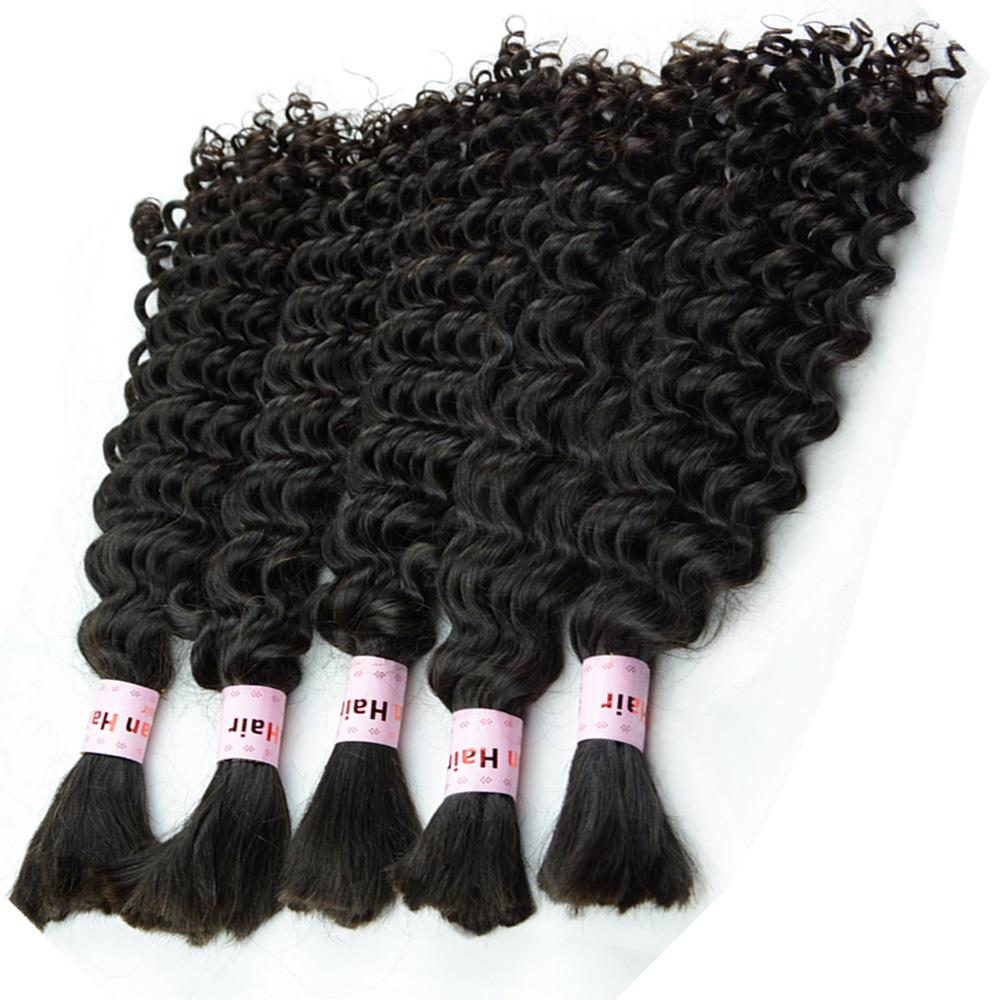 Extensiones de cabello brasileño de onda profunda Paquete Paquete de micro trenzas rizadas Cabello humano a granel Longitud de la mezcla 3/4/5 piezas lote 12-28 pulgadas cabeza completa DHL GRATIS
