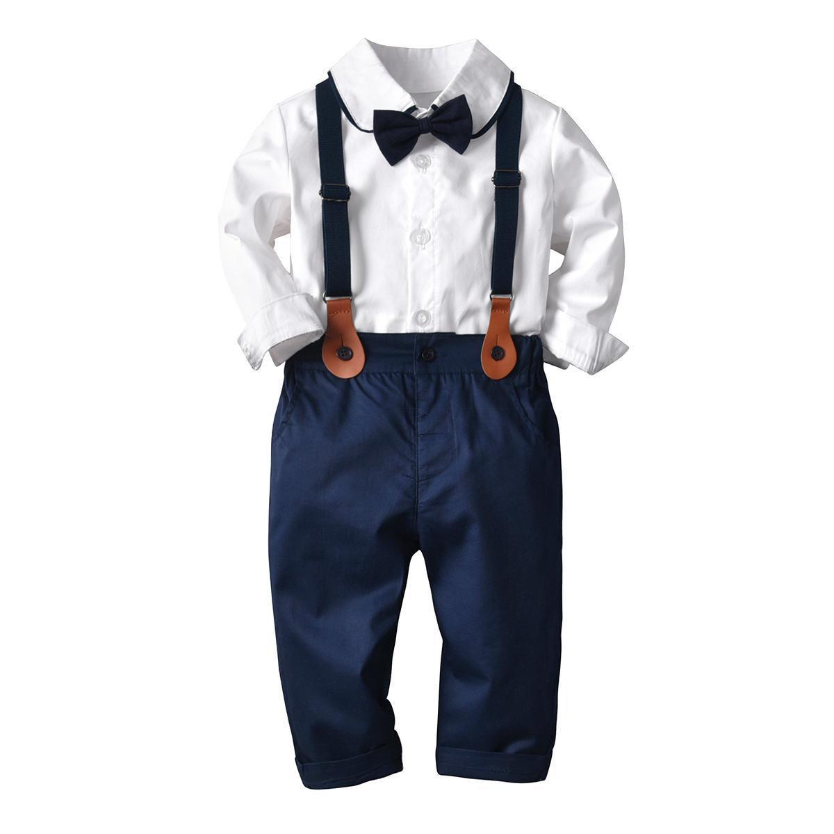 Primavera outono recém-nascido bebê menino casamento conjuntos de crianças senhores de manga comprida macacão bowtie crianças traje formal roupas roupas