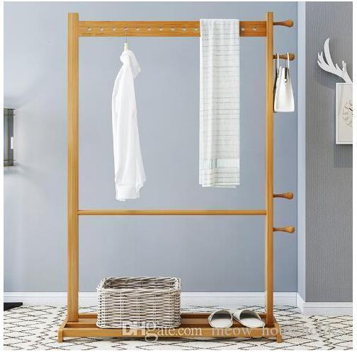2021 Bamboo Hanger Clothes Tree Bedroom Shelf Bamboo Clothes Rack Household Floor Hanger Bathroom Towel Rack Bedroom Furniture From Meow Householdes 171 86 Dhgate Com