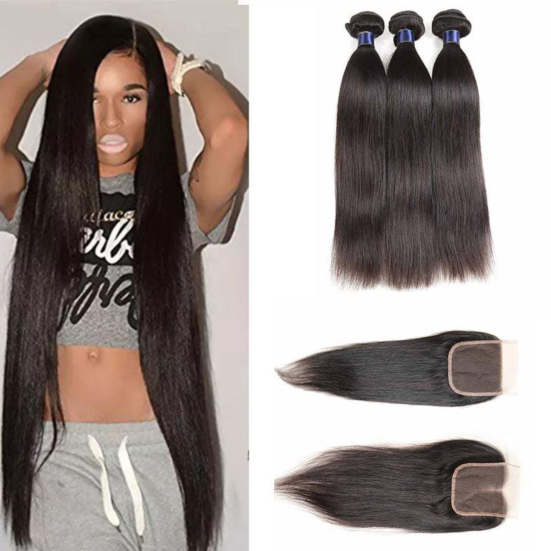 Pérou Indien Malais Remy Bundles cheveux avec fermeture cheveux humains avec dentelle fermeture 100% brésilienne Indian Human Hair Tissages avec fermeture