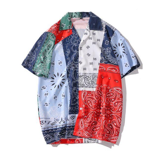 Bandana Retro Gömlek Yatak açma Yaka Erkekler Streetwear Kısa Kollu Gömlekler Erkek Üst Baskı