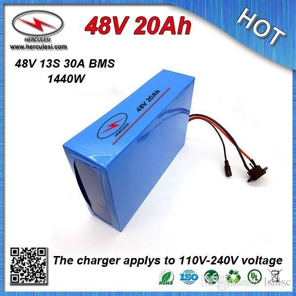 Venda quente bateria 48 V Bicicleta Elétrica Bateria 48 V 20Ah Li ion Battery com caixa de PVC Construído em 13 S 30A BMS + 2A CC / CV Carregador
