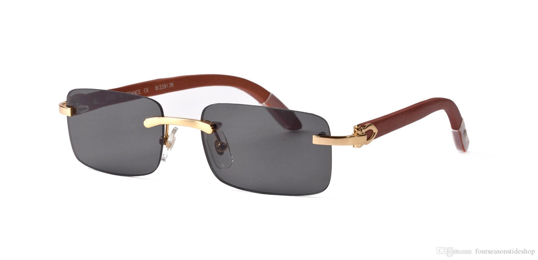 2020 خمر الرجعية النظارات الشمسية للرجال وإمرأة نظارات قرن الجاموس رجل نظارات الشمس نظارات خشبية بدون شفة إطار معدني الذهب والفضة