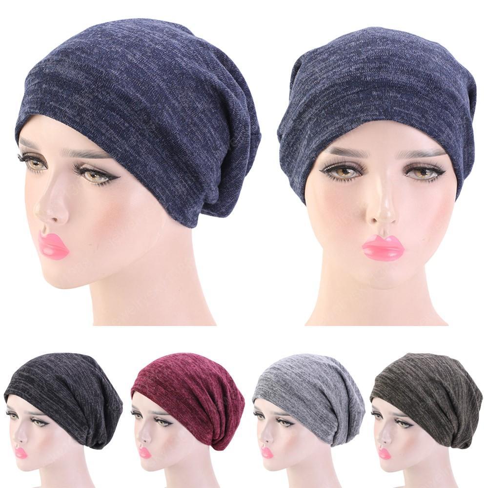 Unisexe Hiver chaud Ski Sleeping Hat Baggy Bonnet satin doublé nuit de sommeil Soins des cheveux Cap Bonnet Perte de cheveux Femmes Hommes Pull Hat