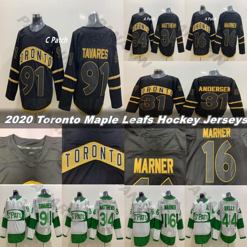 2020 Toronto St. Pats and Black Toronto Maple Leafs Jersey 91 Tavares 34 Matthew 16 Marner 44 Morgan Rielly 31 Andersen Hockey Jerseys