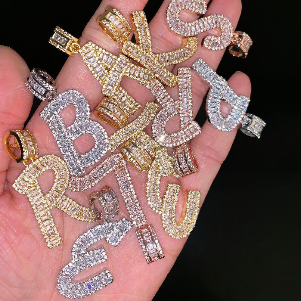 A-Z collar Baguette carta iniciales de 24 pulgadas Colgante con cadena de la cuerda de oro plata con circonio hombres de Hip Hop del collar de la joyería