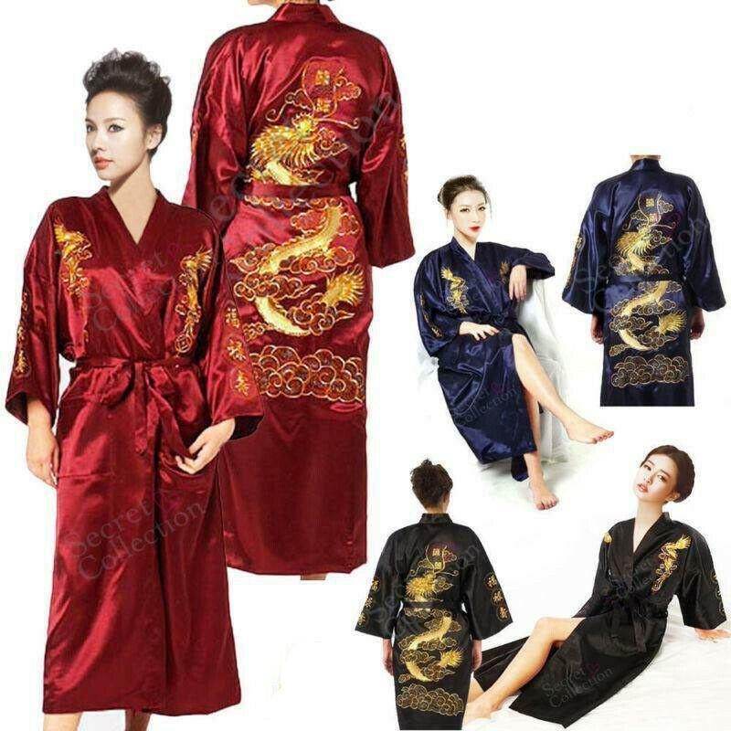 Man Womens SILK Robe Kimono Gown Black Blue Chinese Dragon Sleepwear Dress New