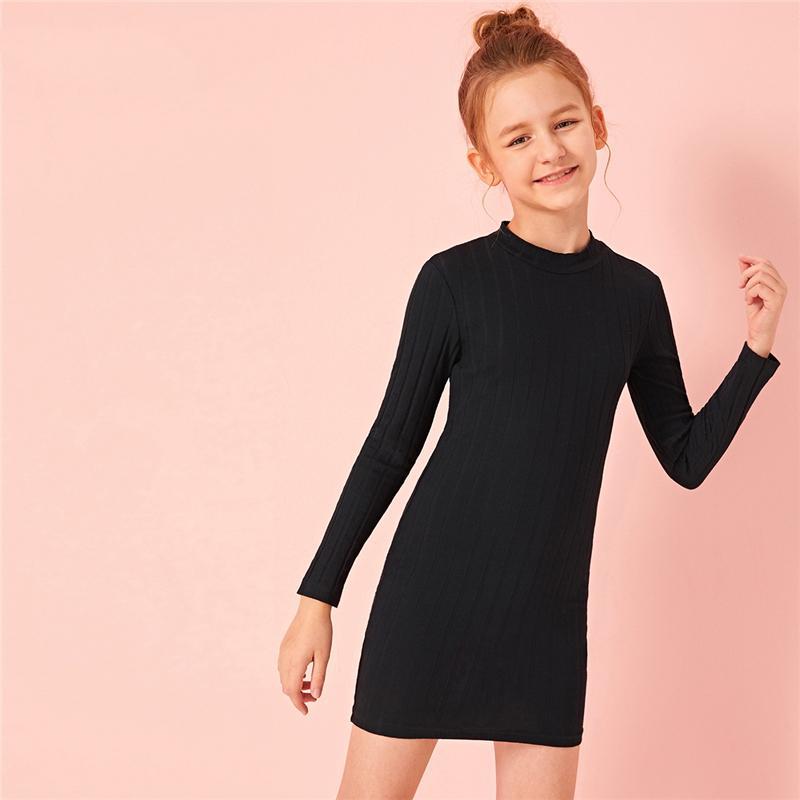 Siyah Standı Yaka Gömme Kızlar Günlük Elbise Sonbahar Uzun Kollu Sıkı Çocuklar BODYCON Mini Elbiseler örme nervürlü