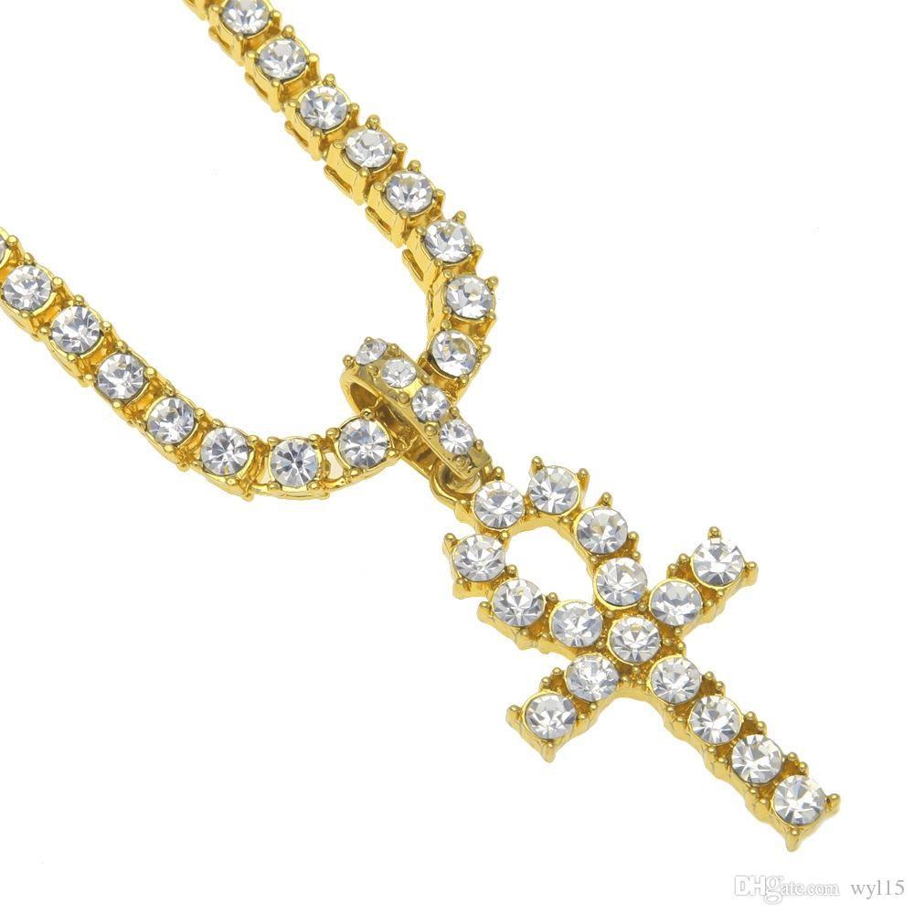 DHL gefrorener heraus Anhänger Designer Halskette Egyptian Ankh-Schlüssel-hängende Frauen Herren Halskette Strass Kristall Cuban Schmuck