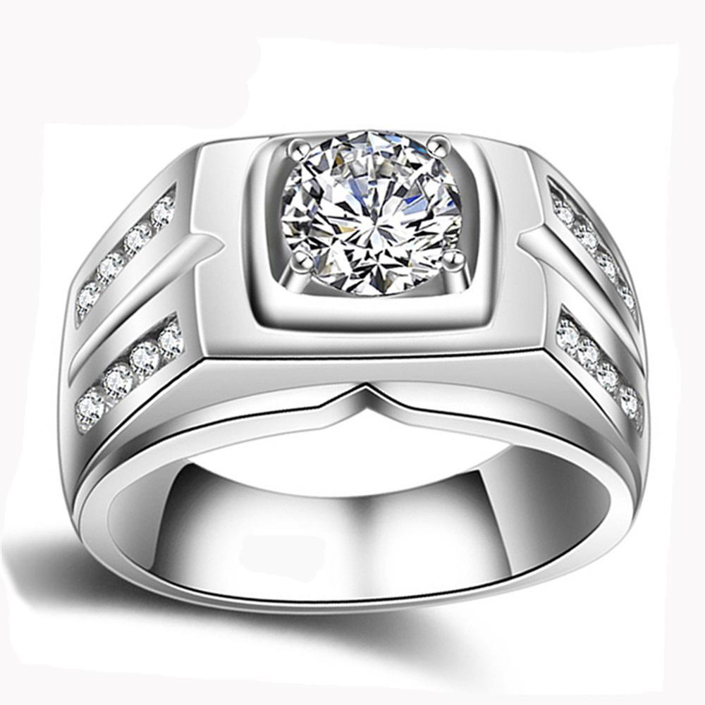 Yanhui Orijinal Doğal 925 Gümüş Yüzük Erkekler Için Sona 1 Karat Diamant Alyans Kübik Zirkonya Alyans Erkekler Takı J190715