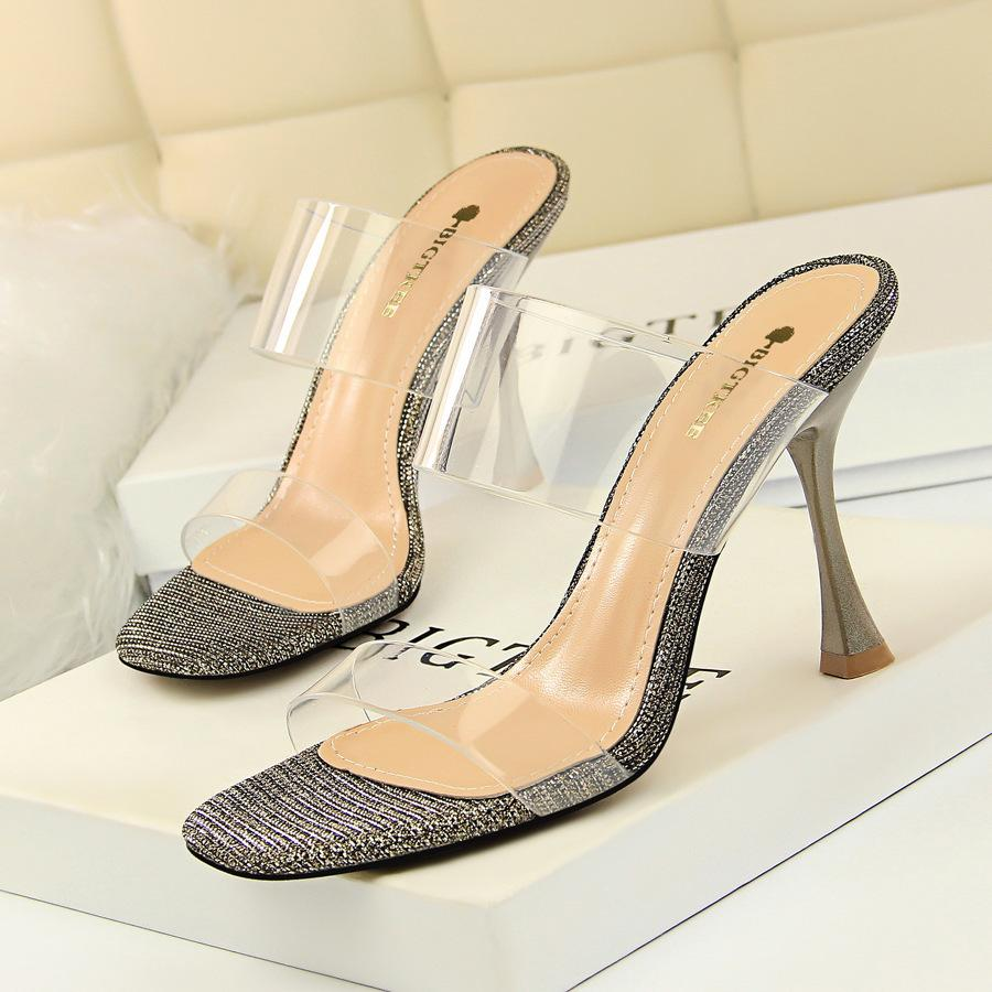 Sexy2019 127-7 European Concise Women's Shoes Wine Glass With Twinkle Toe Square Transparent One Word Bring Woman Slipper