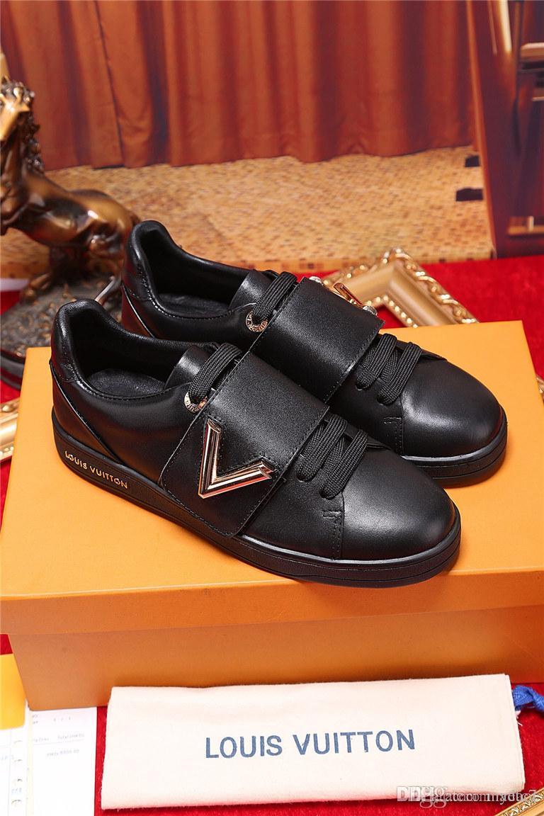 20FW 2018 Zapatos Nuevos Clásicos embarque del patín de los hombres zapatos de lujo de los hombres zapatillas de deporte suave y transpirable Encaje zapatos de deporte verde de los hombres lona de los planos YETC7