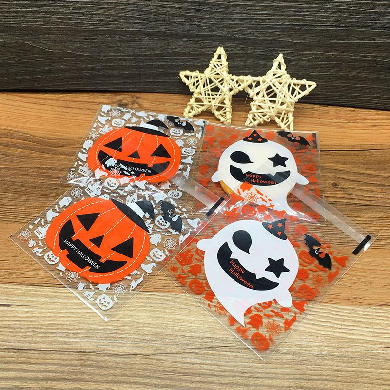 50pcs Halloween Cute Candy Cookies Dessert packaging bag Pumpkin Ghost bags plastic Party decoration sweet small gifts