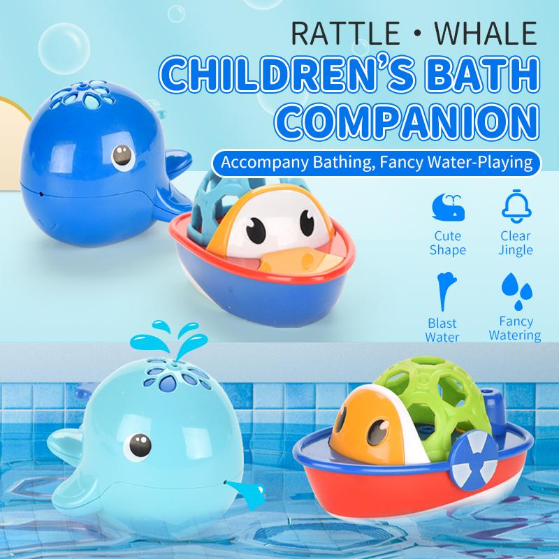 TW2004065 brinquedos de banho peixes da natação do chocalho do bebê mão trêmula 12M + Water-JOGO set presente para banho de banheira bebé