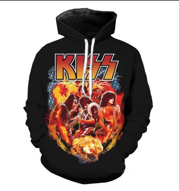 Nuove donne di modo rock band Kiss Uomini divertente 3d Felpe con cappuccio Autunno Inverno casuale Stampa con cappuccio Pullover Tops WR0118