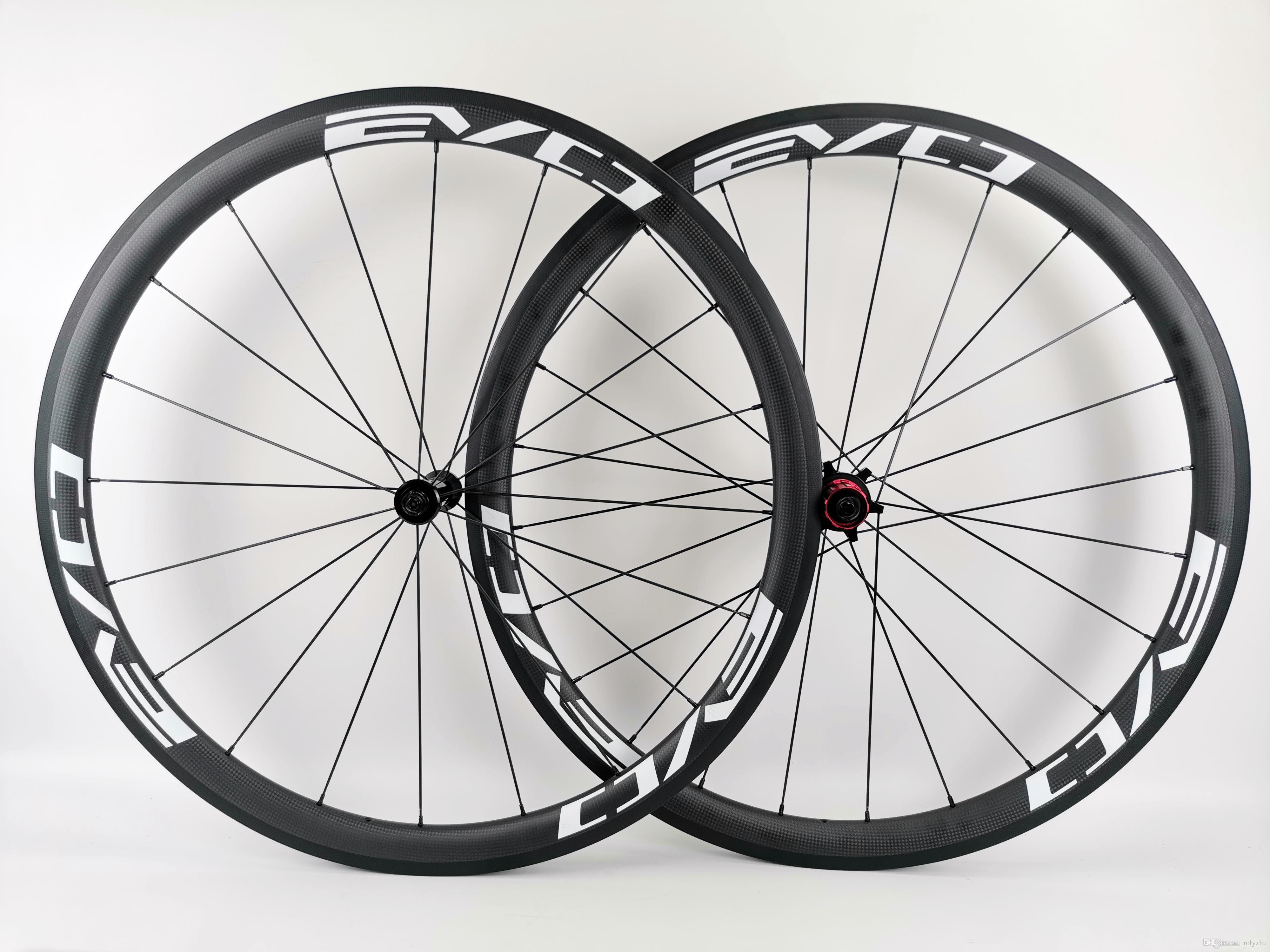 EVO full carbon wheels 38mm depth 25mm width carbon wheelset clincher/tubular road carbon bike wheelset with 3K matte finish