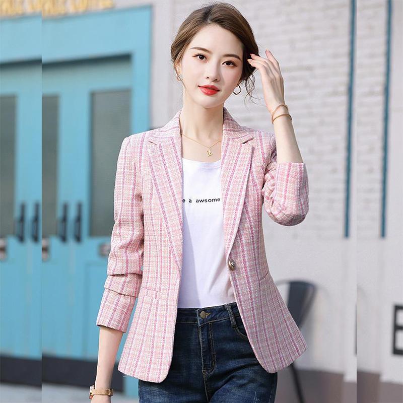 Women Blazer Autumn Slim single button Plaid Women Blazer Pockets Jackets Female Retro Suits Coat Feminino blazers