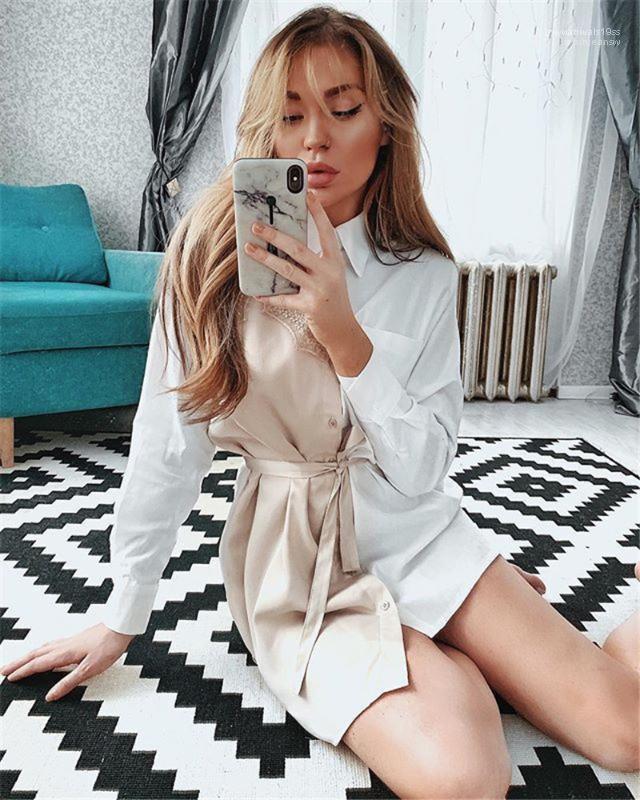 Elbiseler Tasarımcı Kadınlar Elbiseler Moda Kadınlar dizayn edilmiş elbiseler Casual Dantel Kasetli Yaka Yaka Uzun Kollu Gömlek