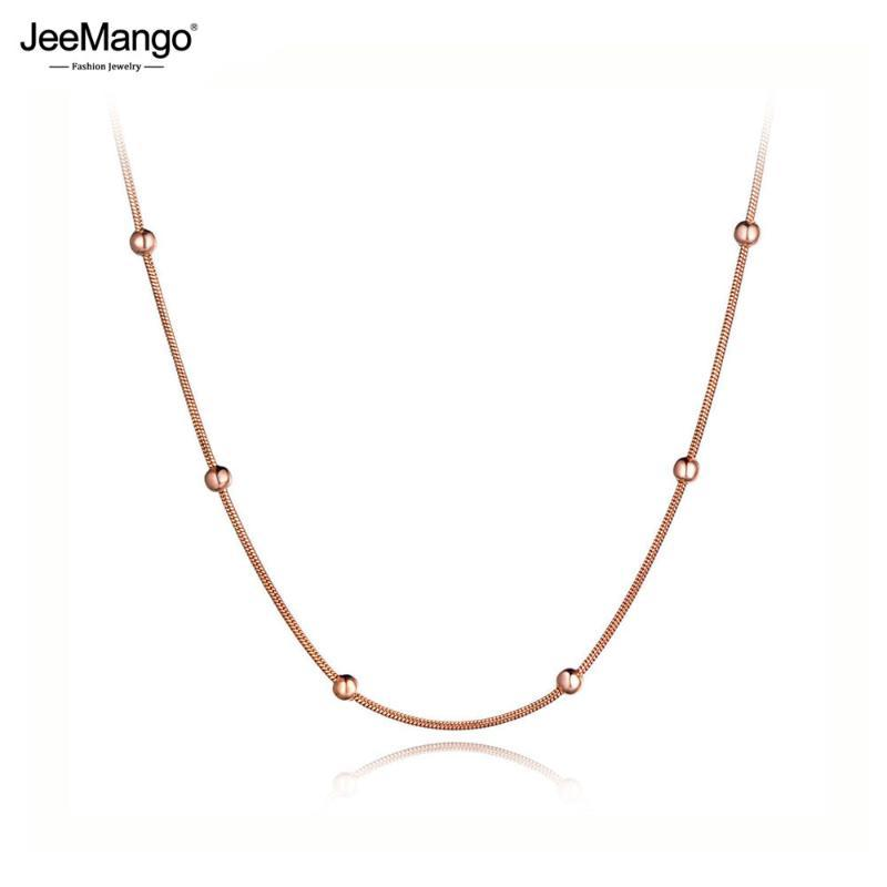 JeeMango Moda Pembe Altın Renk Yuvarlak Boncuk Zincir Bağlantı Kolyeler Takı Titanyum Çelik gerdanlık kolye için Kadınlar Kızlar JN19079
