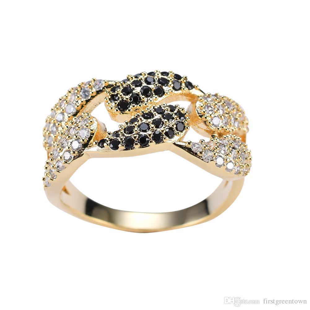 Hip Hop Ring CZ Metallart Kupfer-Ringe für Männer Iced Out Gold-Farbe Schwarz Ring