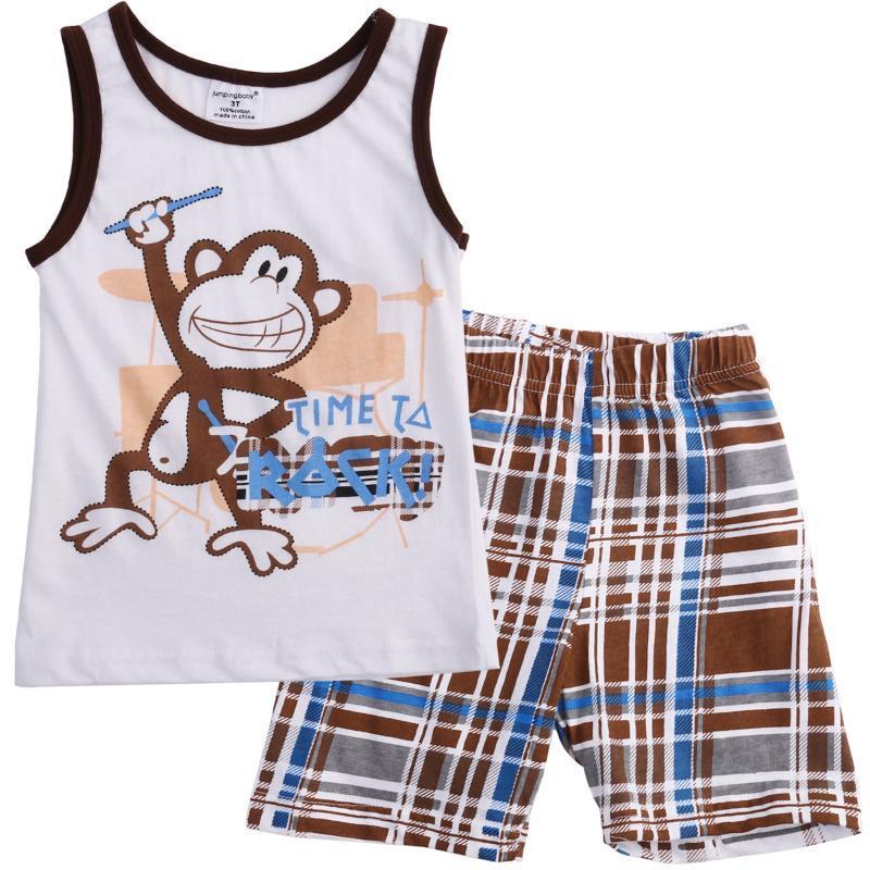 طفل الاطفال الرضع بنين وتتسابق الصيف تي شيرت بدون أكمام القرد جولة الرقبة تانك + سروال 2PCS مجموعة ملابس بنطلون الزي مجموعة