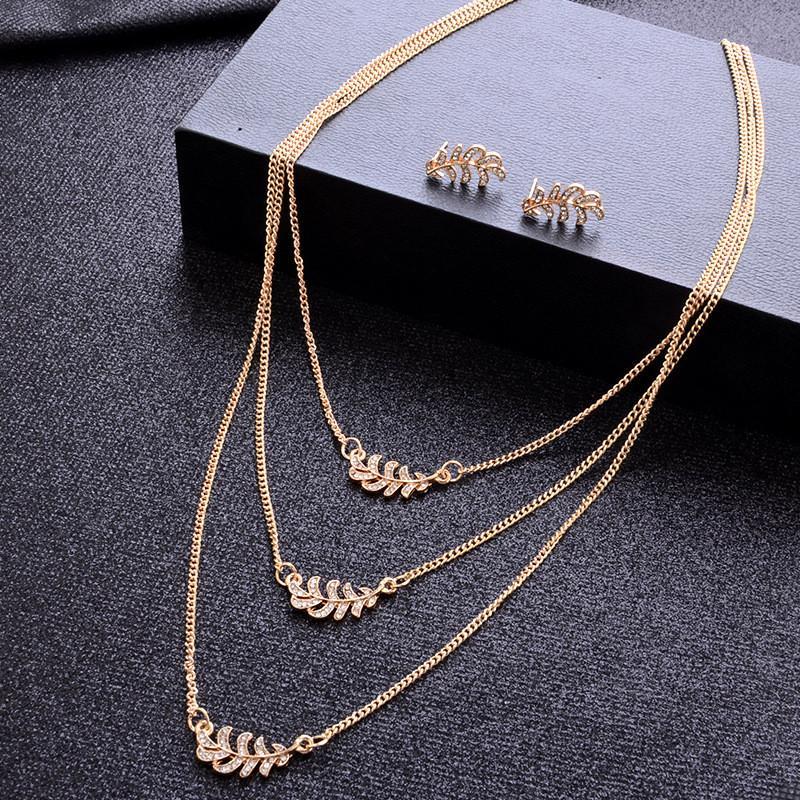 YOBEST Mode Frauen Gold Farbe Klassische Hohle Blatt Österreich Kristall Halskette Ohrringe Hochzeit Schmuck Sets Großhandel