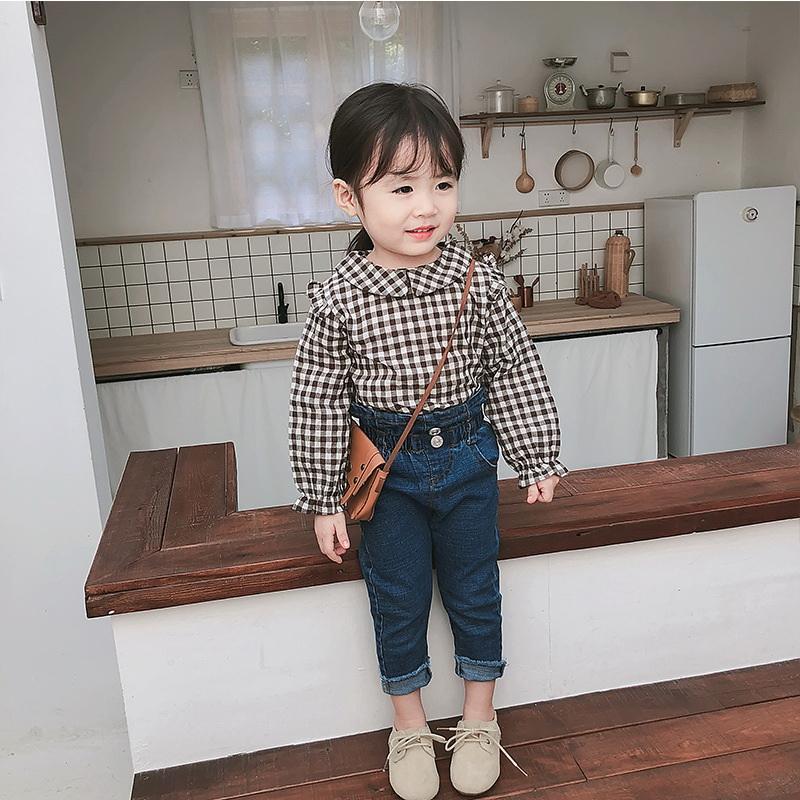 Las niñas de la cintura de los pantalones vaqueros de 2020 nuevos pantalones de los niños del bebé Solid Jeans muchachas del color de las polainas del bebé de la ropa E21821