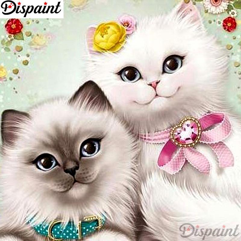 "Dispaint Full Diamond ""Flower cat"" DIY 5D Diamond Painting Cross Stitch Home Decor Picture Of Rhinestone Handmade A12922"