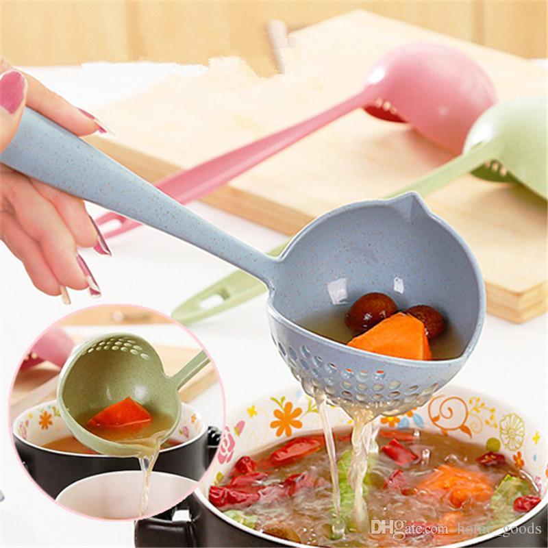 Doppelzweck Löffel 2 In 1 Mit Filtersuppe Schöpflöffel Weizen Stroh Lange Griff Löffel Zum Kochen Küche Sieb Küchenwerkzeuge