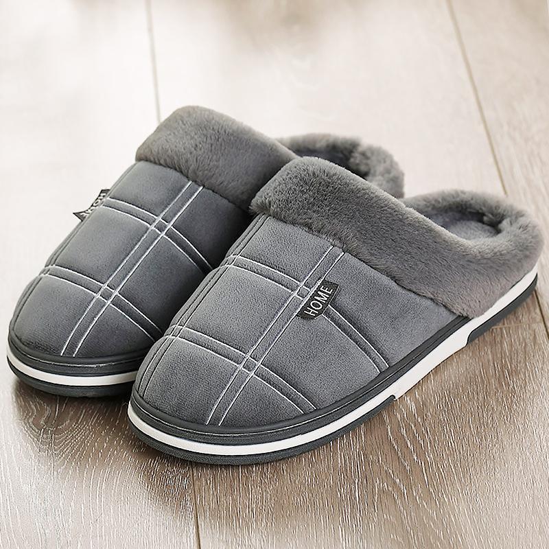 Início chinelos Women tamanho grande 43-51 deslizamento casa morna sapatos da moda Flock guingão confortável Chinelos de Inverno Ladies TPR não