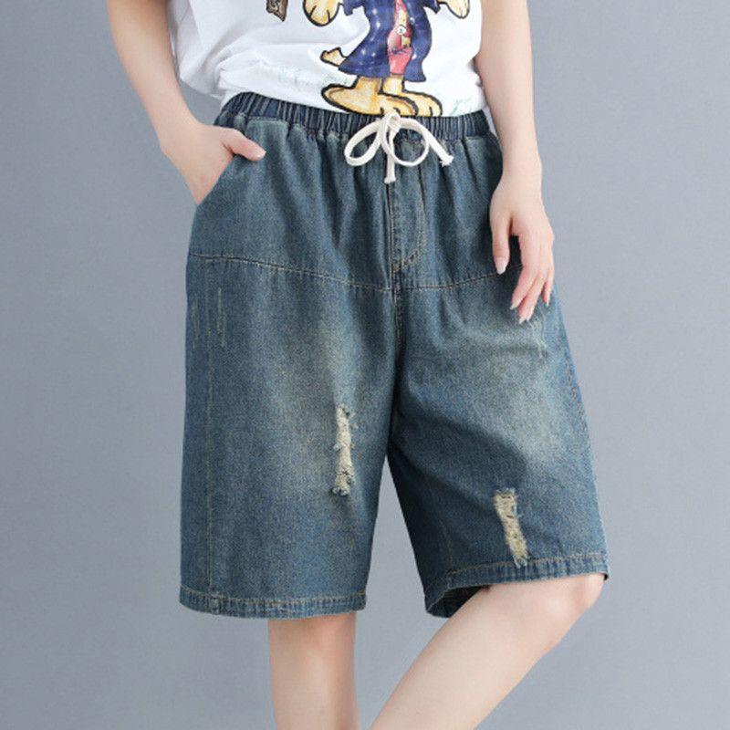 Verão Lavado Denim Cinco calças Mulheres Do Vintage Buraco Shorts Plus Size Casual Jeans Soltos Feminino Elástico na Cintura Na Altura Do Joelho Calças