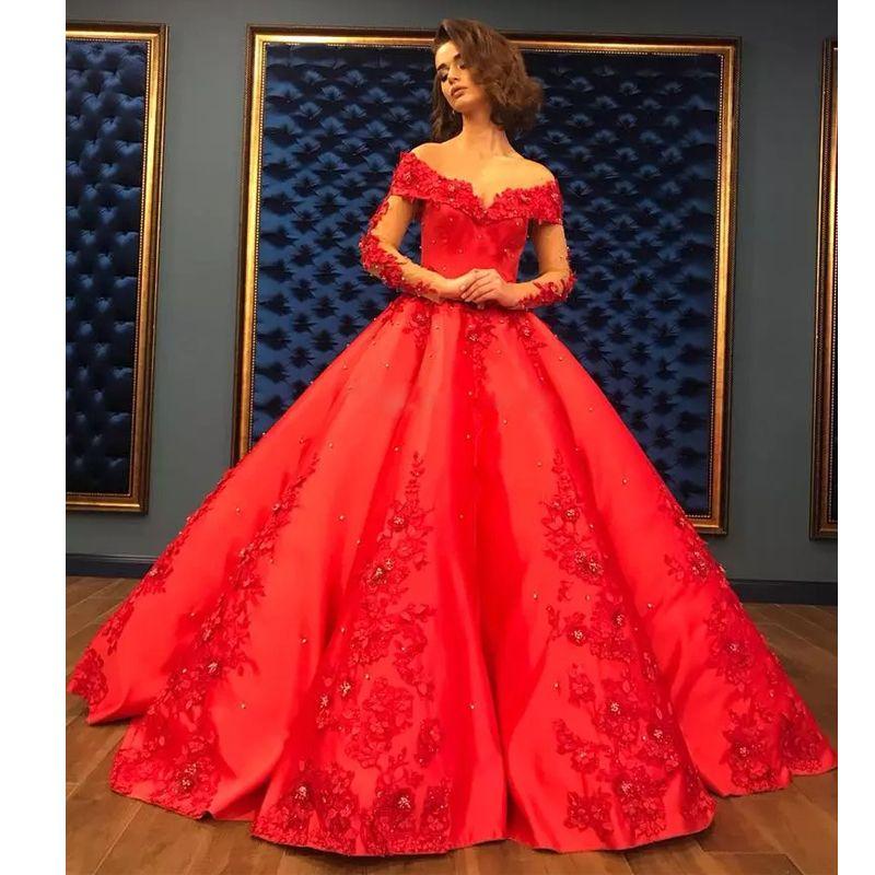 Красное шариковое платье абарика Дубай свадебные платья V-образным вырезом с длинным рукавом с 3D-аппликациями Бусины Bridal Pageant Atin Ruffles юбка PageNT