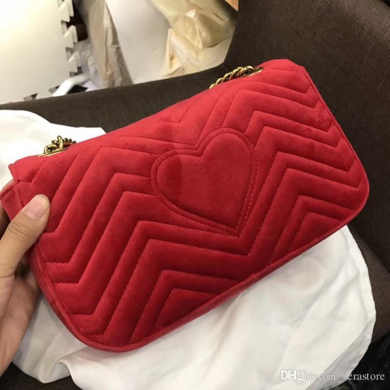 22 / 26cm Kadife Lüks Çantalar Kadın çantaları Kadınlar Ünlü Markalar Bayan ücretsiz gönderim 2018 Tasarımcı Yüksek kalitede omuz çantası VeraStore