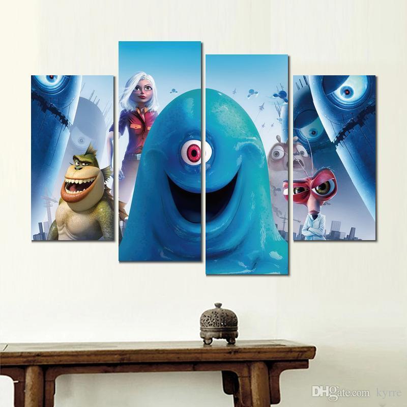 Moderne 4 panneaux monstres contre des extraterrestres HD Impression sur toile décoration maison peinture d'art sans cadre