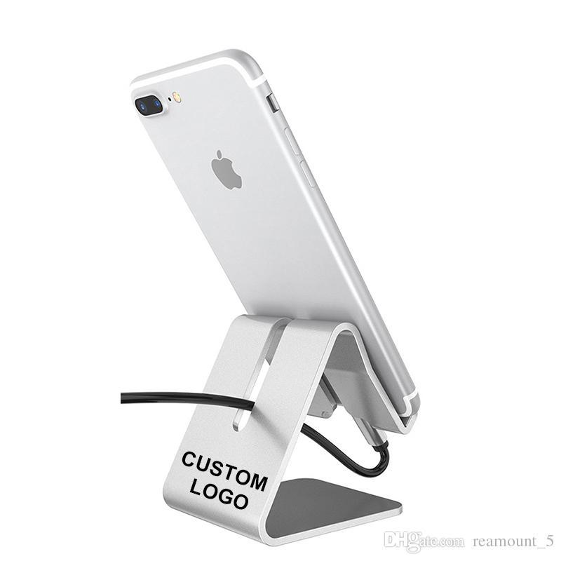 Werbe Gewohnheit Ihr eigenes Logo Metall Aluminiumlegierung Handyhalter Ladestation Desktop Ständer Für Handy und Tablet