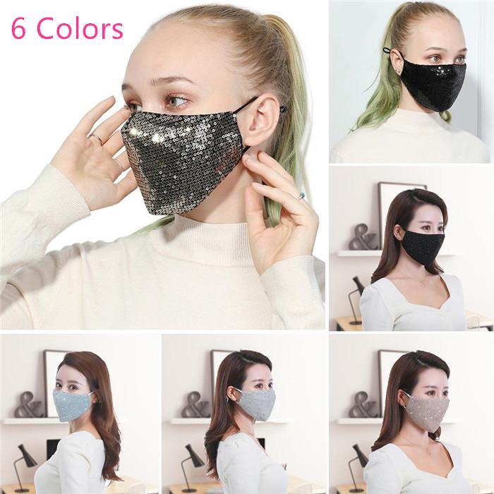 Cara de lujo Máscara Brillante Diseñador máscaras bucales muchachas de las mujeres de ciclo al aire respirable boca de mufla adulto reutilizable Wahsable la mascarilla del 100pcs