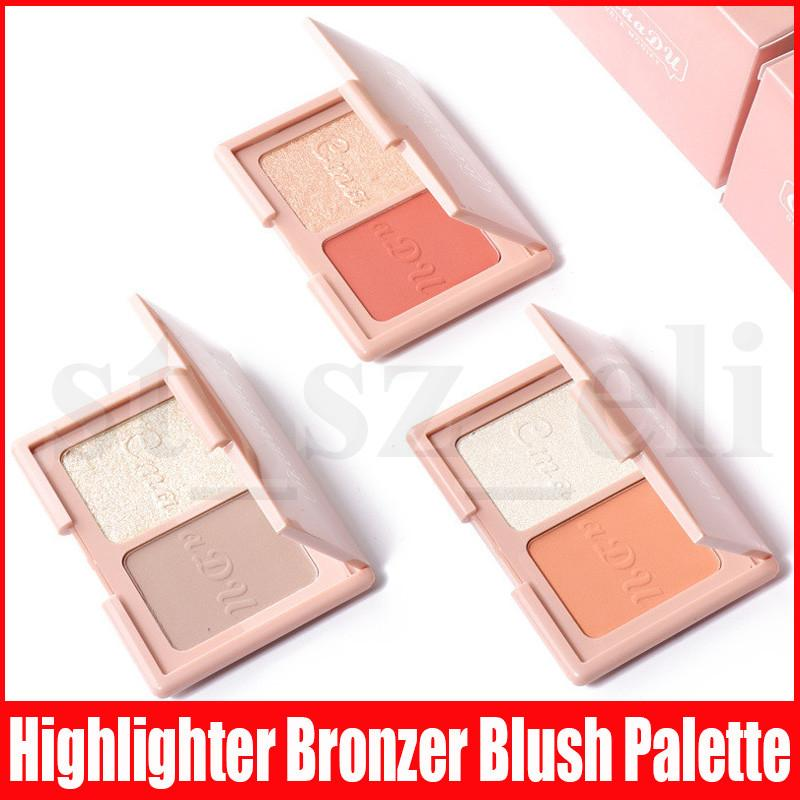 Cmaadu Double Colors Face Makeup Highlighter Pressed Powder Diamond Highlighting Shimmer Glitter Bronzers Blush Palette With Mirror 3 Styles